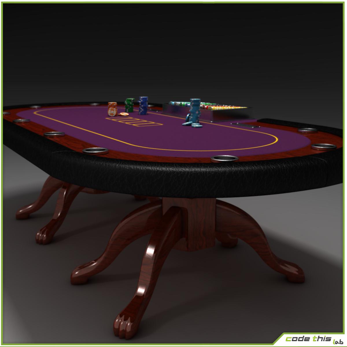 9' Poker Table - Metal Base w/ Foot Rail