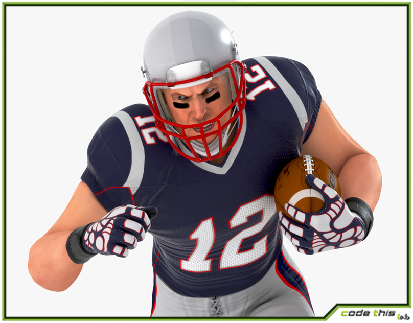 3D Model: White American Football Player HQ - Code This Lab srl