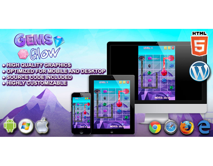HTML5 Game: Gems Glow